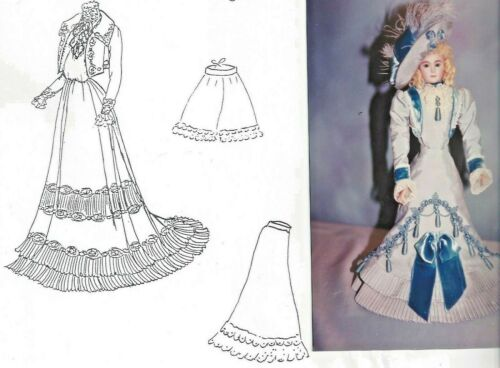 """18""""ANTIQUE FRENCH FASHION/GIBSON GIRL LADY DOLL VISITING DRESS UNDERWEAR PATTERN"""