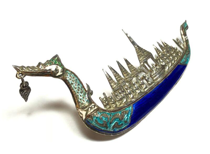 Vintage Ladies SIAM Sterling Silver Enamel Dragon Boat Pin/Brooch