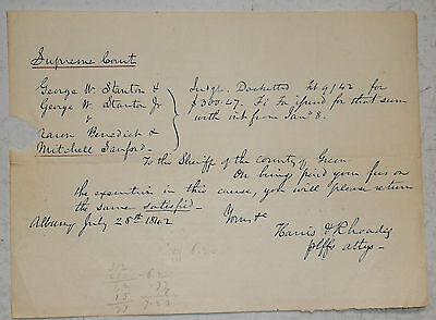 ANTIQUE 1842 SUPREME COURT DOCUMENT TO THE SHERIFF OF GREENE COUNTY NEW YORK