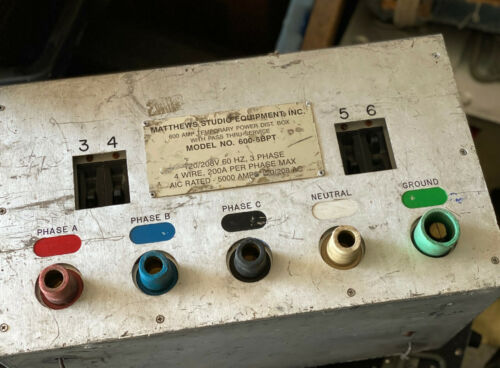 Matthews 600-6BPT 600 Amp Temporary Power Dist. Box w/Pass Thru Service