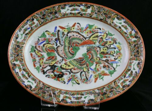 Antique Chinese Export Porcelain Thousand Butterfly Platter 14.5""
