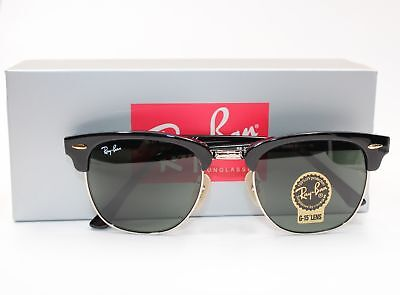 Ray-Ban Clubmaster Sunglasses RB3016 W0365 G-15 Lens 51mm Black Silver Frame