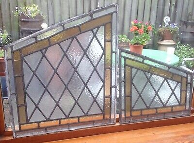Vintage 2 Irregular Pieces coloured leaded stained glass window door PROJECT