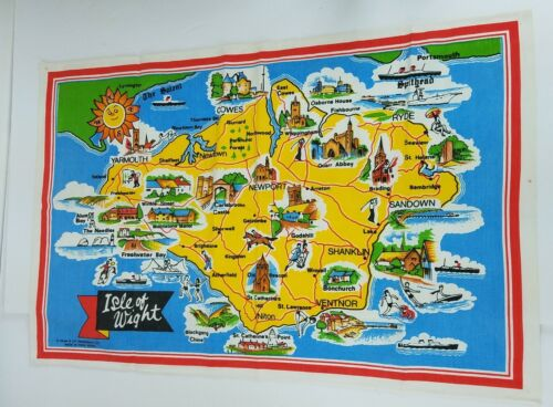 Vintage Isle of Wight England Textile Cloth Map Made in Hong Kong G Dean & Co