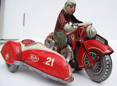 Huki Motorrad mit Beiwagen K-1021 Blech Made in US-Zone Germany - sehr selten !