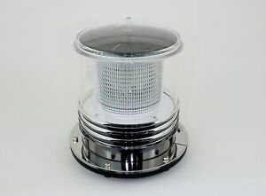 Marine Solar Warning Light - WHITE LED Marine Dock Barge Safety Beacon Light