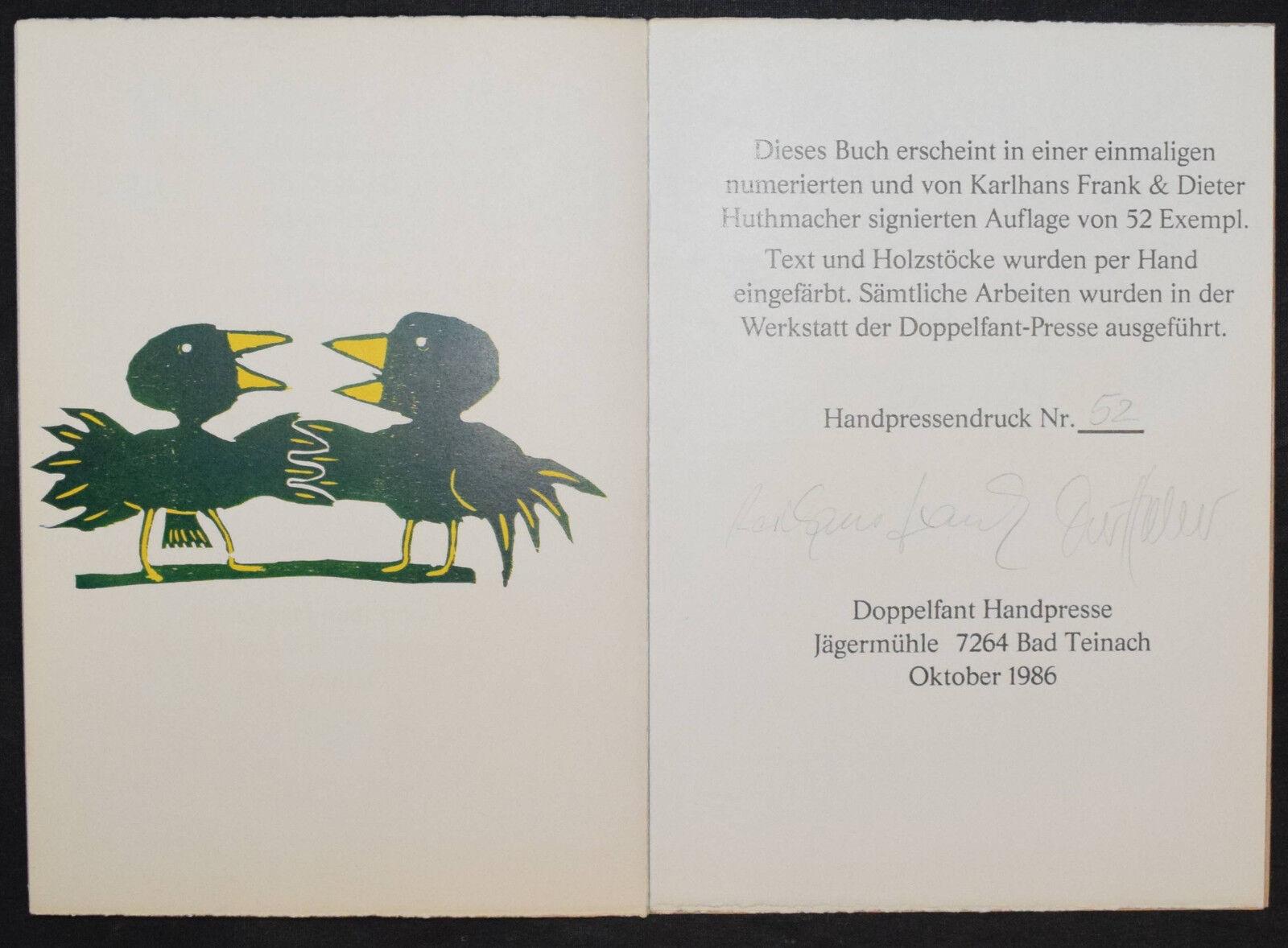 FUNDEVOGEL - 1986 - KARLHANS FRANK - D. HUTHMACHER - SIGNIERT - NUMMERIERT