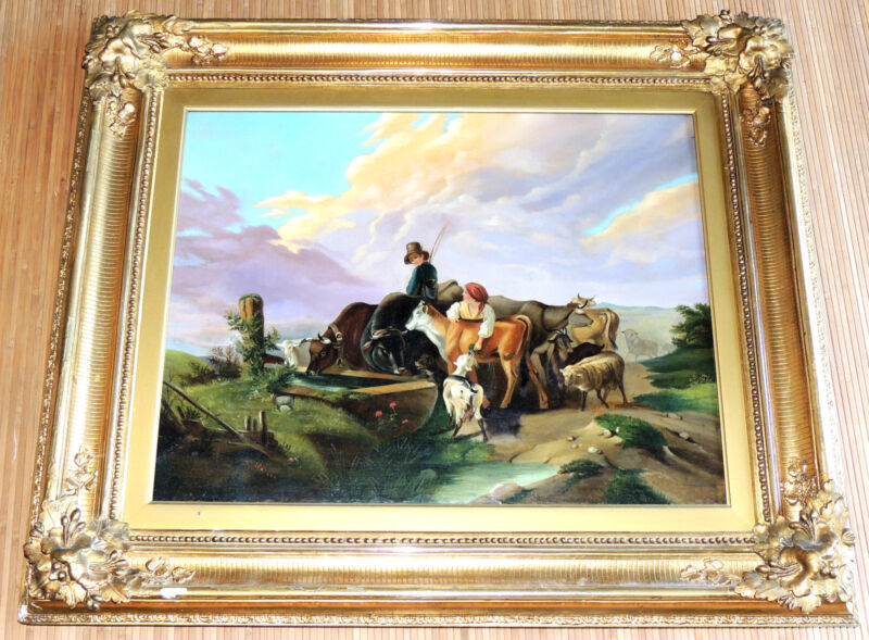 """Large Americana 1840 """"animals At The Trough"""" Oil On Canvas Painting Signed"""