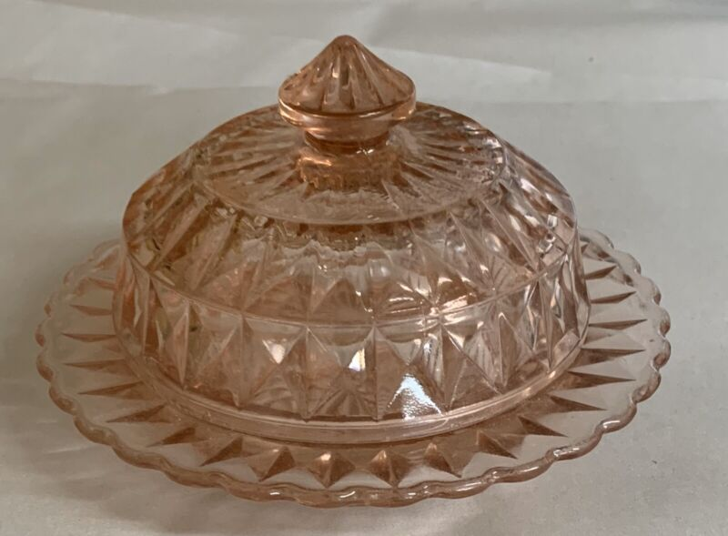 Pink Depression Glass Windsor Round Butter Dish Jeannette