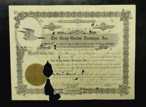 The Gray Goose Airways Inc. NEVADA 1932 stock certificate CALDWELL