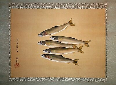 Japanese scroll painting of sweetfish signed Goro June 1939