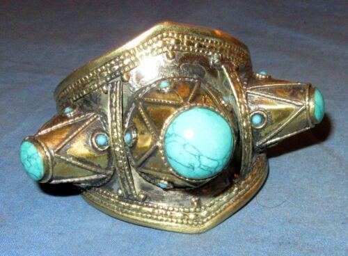 "Bracelet Spike Gemstone Cuff Afghan Kuchi Tribal Alpaca Silver 3"" dia NEW!!!"