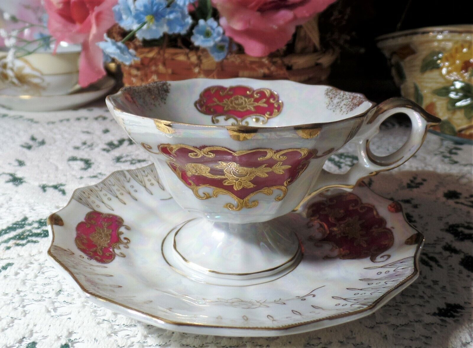 Vintage Japan China IRIDESCENT/LUSTERWARE Footed Cup Saucer  - $7.95