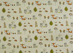 tende owls gufi : Fryetts-Foresta-FOX-GUFI-alberi-tessuto-di-cotone-Tende-Tappezzeria ...