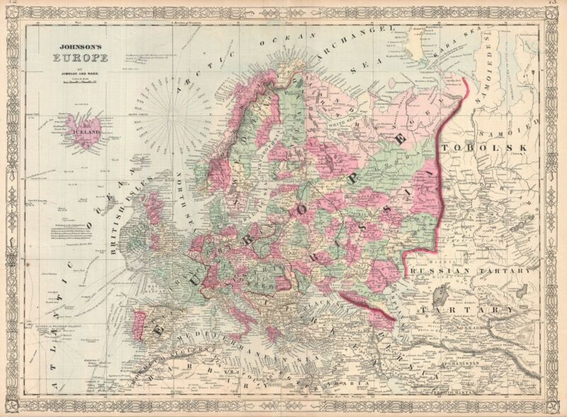 1864 Johnson Map of Europe