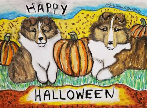 SHELTIE Happy Halloween Shetland Sheepdog Dog Art ORIGINAL Painting 9x12 KSAMS