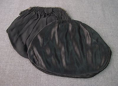 2 ANTIQUE 1920'S BLACK SILK BAGS FOR PURSE