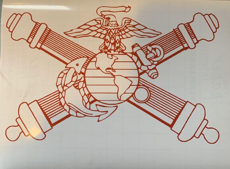 USMC Artillery Vinyl Decal. Cross Cannons. Marine Artillery