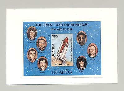 Uganda  #568  Space Shuttle, Women, 1v imperf s/s proof mounted on card