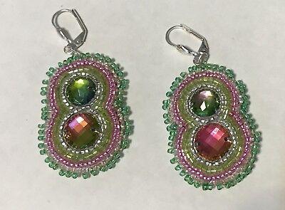 Native American Style Powwow Beaded  Earrings New Suede Back Pink Green Silver
