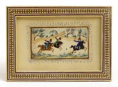Persisches Miniaturgemälde Darstellung eines Reiterballspieles (~ Polo)