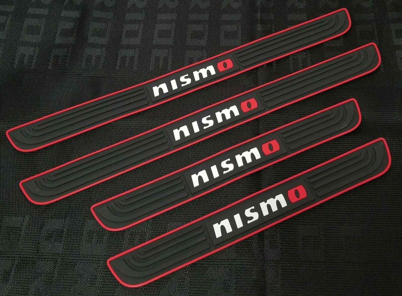 Car Parts - 4PCS Nismo Black Rubber Car Door Scuff Sill Cover Panel Step Protector
