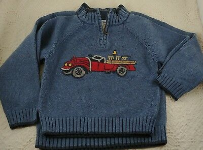 Old Time Fire Truck - GYMBOREE BOYS Size 3 & 5 Pullover Knit Sweater * Old Time Fire Truck * BROTHERS