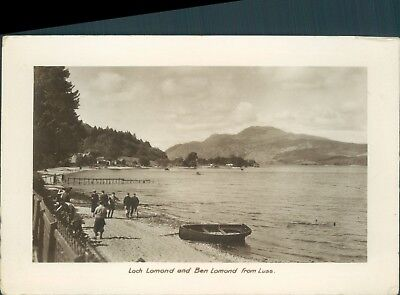 Real photo loch lomond and ben lomond from luss 1935