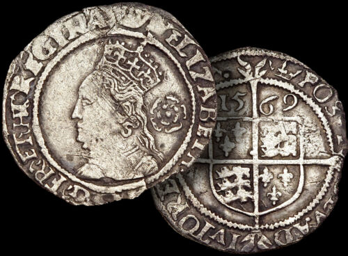 ELIZABETH I: Daughter of HENRY VIII / 1569 SILVER Hammered 3 Pence Coin + COA