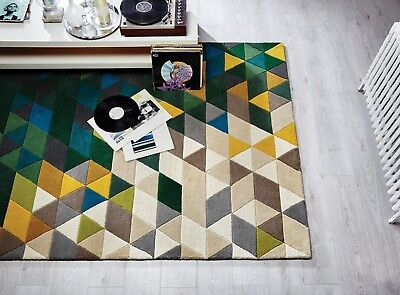 SALE ON Illusion Prism Green Multi Hand Carved Wool Rug in various sizes - Prism Multi Teppich