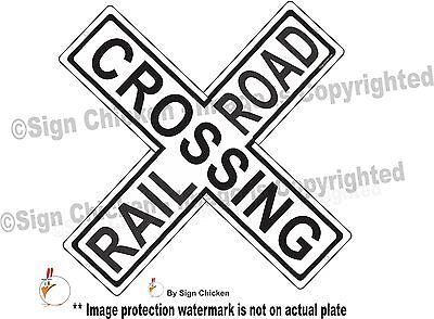 RAIL ROAD CROSSING CROSS BUCK SIGN // TRAIN // LOCOMOTIVE / EMBOSSED