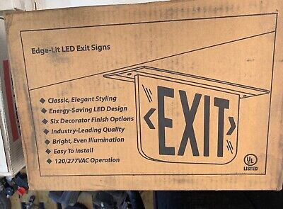 Dual Lite Edge-lit Led Exit Sign Green Letters Battery Backup - Free Shipping