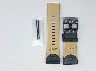 DIESEL 28 MM 100% ORIGINAL BLACK LEATHER STRAP WITH PINS DZ7257 WATCH MODEL NEW