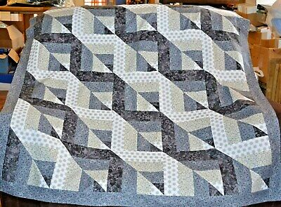 "QUILT TOP-Wacky Triangles in White to Black, 51"" Sq. HANDMAD"