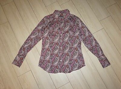 Womens ROSSANA DIVA Made In Italy Button Down Shirt Top Paisley Long Sleeve 36