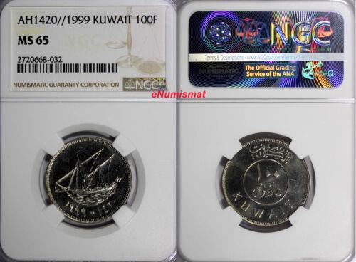KUWAIT  AH1420//1999 100 Fils NGC MS65 TOP GRADED BY NGC KM# 14