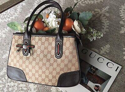 Gucci Vintage GG Monogram Brown Tote Shoulder HandBag, US Seller, Ship Fast!