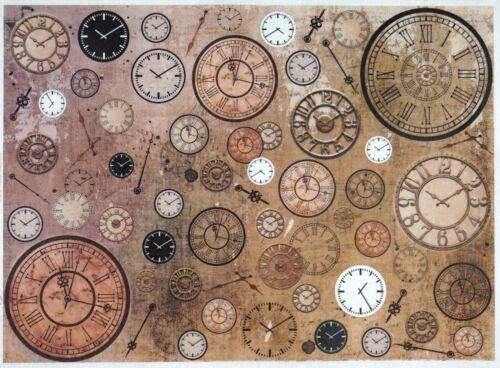 Rice Paper for Decoupage Decopatch Scrapbook Craft Sheet Vintage Clocks