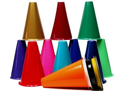 10 Cheer Leading Megaphones, 8 Inches Tall, Choice of Colors, Mfg USA Lead Free