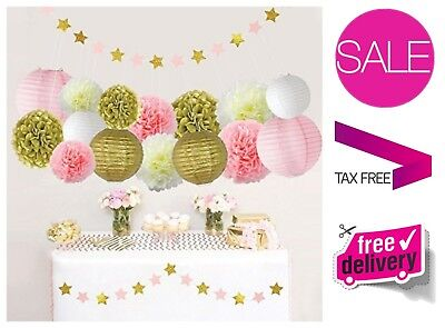 Pink and Gold Party Decorations Bridal Baby Shower Birthday Party Supplies Decor - Pink And Gold Baby Shower Decorations