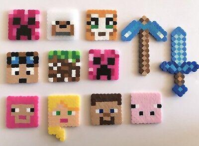 Set of 12 Minecraft Birthday Cake Cupcake Toppers Perler Beads Handmade New Girl