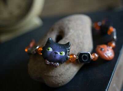 Vintage Retro Halloween Black CAT Hand Crafted & Painted Clay Bracelet