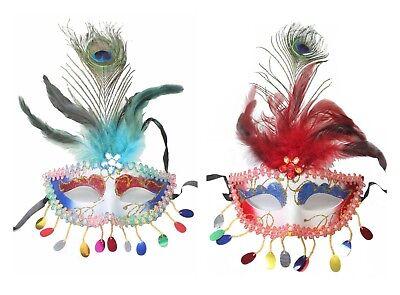 Set of 2 Random Color Masquerade Mardi Gras Carnival Peacock Feather Mask (Mardi Gras Peacock Mask)