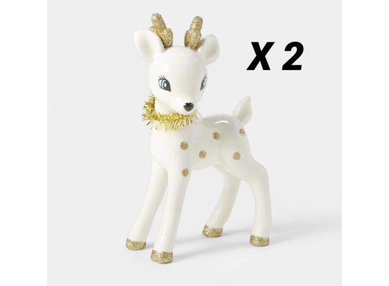 Lot of 2 Wondershop Retro White Deer Fawn Christmas Decorative Figurine