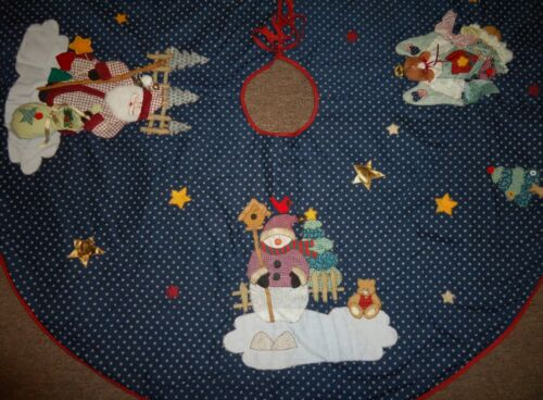 NEW Handmade Quilted Christmas Tree Skirt Rustic Farmhouse Country Holiday Round