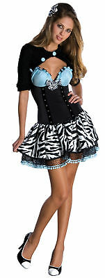 Teen Ladies ROCKABILLY Costume Dress w Black Shrug Zebra Print Skirt XXS XS 0 2