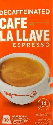 "Decaffeinated ""Descafeinado"" Cafe La Llave Nespresso Compatible 10 Capsules"