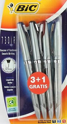 Pack 4 BIC 730R Liquid Ink Roller Ball Pens Black, Blue, Red FINE