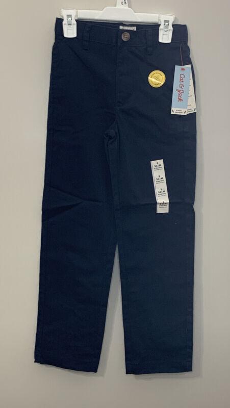 Cat & Jack Boys Navy Flat Front Stretch Uniform Straight Pants 8 Slim