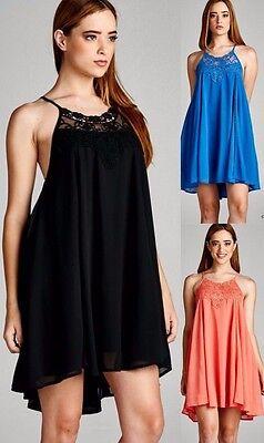 Lace Trim Tank Kleid (Jodifl Lace Trim Open Back Tank Dress Shift Sleeveless Bohemian Boho Chic J1255)